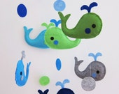 """Baby Mobile - Whale Crib Mobile - Handmade Nursery Mobile - """"Six Swimming Little whales"""" (Match your bedding)"""