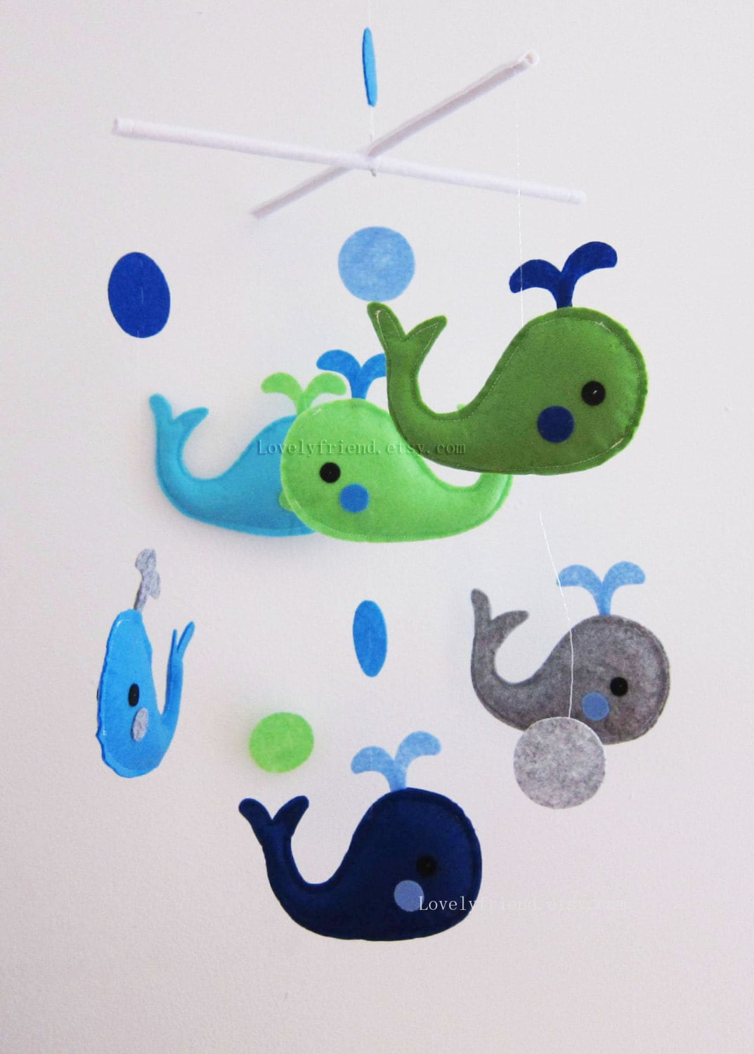baby mobile whale crib mobile handmade nursery mobile. Black Bedroom Furniture Sets. Home Design Ideas