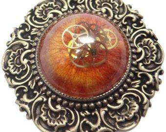 Steampunk Geared Pin Brooch Clockwork Nebula Flower by Dr Brassy Steamington