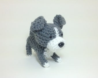 Amigurumi Pit Bull American Stafford Terrier Office Decor Dog Handmade Crochet Puppy Stuffed Animal / Made to Order