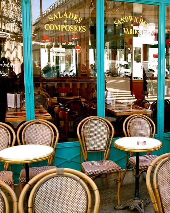 French Cafe Kitchen Decor Ideas: Paris Cafe Print French Bistro Photograph Kitchen By