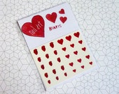 Heart Nail Decals / Nail Art - Love Hearts and Anatomical Hearts