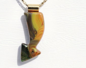 Arrow Pendant, Fused Glass Jewelry - Hidden Earth Series, Woodland, Bohemian, Tribal - Earthy, Brown, Yellow, Green (Item 10645-P)