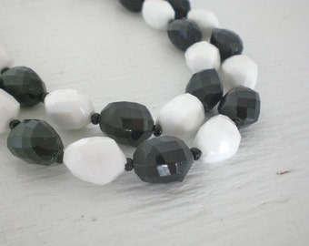 Vintage Black White Necklace Double Strand Faceted Plastic Bead West Germany Multi Strand Mid Century Costume Jewelry GallivantsVintage