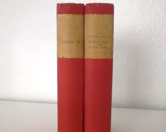 Vintage Book Set Life Voyages of Christopher Columbus c. 1800's Two Volume Set Red Hardcover GallivantsVintage