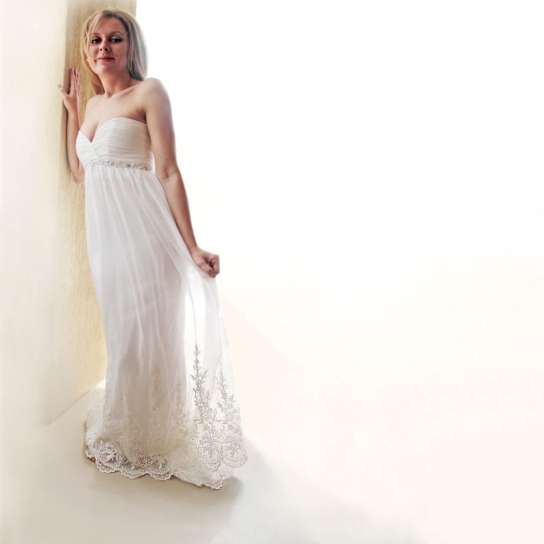 Silk chiffon wedding gown empire waist wedding by for Chiffon wedding dress empire waist