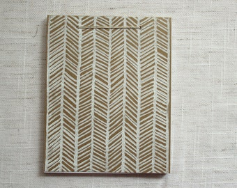 Herringbone Mini Notebook - White/Kraft