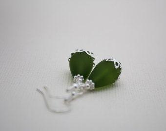 Sea Glass Jewelry, Sea Glass Earrings, Seaglass Beach Glass Earrings Teardrop Green Earrings Wedding Earrings Bridal Earrings Bridesmaid 042