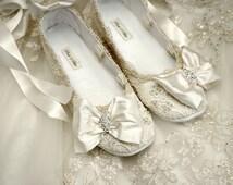 Womens Wedding Shoes, Wedding Ballet Flat, Wedding Vintage Lace, Wedding Accessories,Wedding Ballet Shoes,Women's Bridal Shoes,Brides Shoes