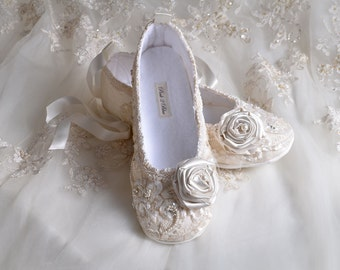 Lace Ballet Wedding Shoes,Limited Edition Wedding Flats,Wedding Bridal Ballet Shoes,Wedding Slippers,Shoes Crystals and Pearls, Wedding Shoe