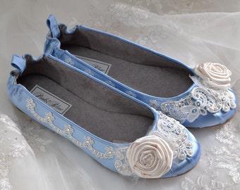 Wedding Shoes - Ballet Flats, 250 Custom Colors, Vintage Lace, Swarovski Crystals, Belle-Women's Bridal Shoes
