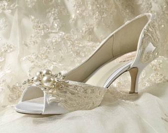 Womens Wedding Shoes Bridal Vintage Lace Heels