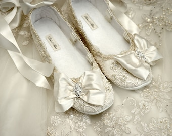 Bridal shoes flats – Etsy
