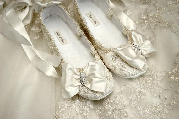 Womens Wedding Shoes Ballet Flat Vintage