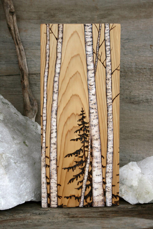 Birch trees art block wood burning