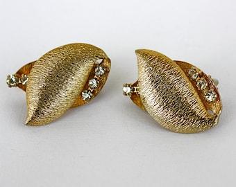 Vintage 50s Rhinestone Earrings Gold Curved Leaf w Sparkling Rhinestones Clip Back
