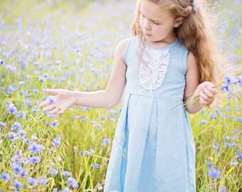 Flower girl dress and hair clips in light blue - Linen girl dress and hair clips - Blue girl dress - Special occasion girl handmade dress