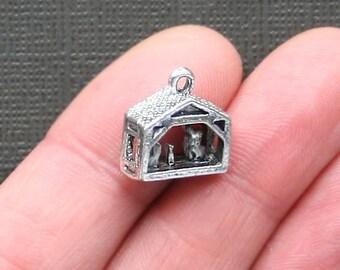 5 Nativity Charms Antique Silver Tone 3 Dimensional Manger Charm - XC60