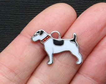 5 Dog Charms Charms Silver Tone and Enamel - E109