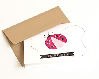 Children's Note Cards, Girl's Personalized Stationery // LADYBUG