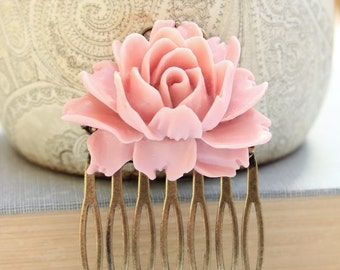 Pink Rose Comb Romantic Dusty Pink Rose Hair Accessories Bridal Wedding Spring Floral Hair Piece Shabby Style Cabbage Rose Flowers for Hair