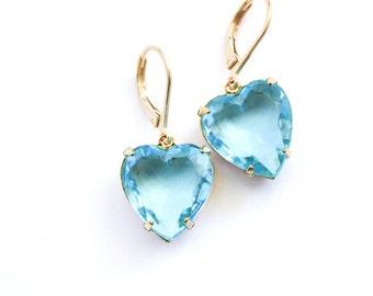 Aqua Blue Earrings Glass Heart Earrings Rhinestone Earrings Glass Drop Bridal Earrings Something Blue Romantic Leverback Valentines Day