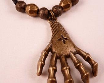 Skeleton Hand Necklace Skeleton Necklace Claw Hand Skeleton Jewelry Brass Jewelry Black Jewerly Beaded Jewelry Beaded Necklace