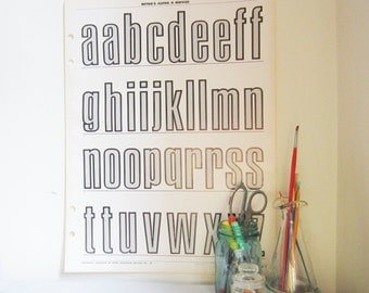 Large Typography Poster - Vintage Lowercase Outlined Alphabet (Page 3)
