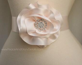 Blush Pink Flower Sash Sash Set - 3 in 1 - Double Faced Satin Ribbon Sash - Bridal Bridesmaids Flower girl Sashes