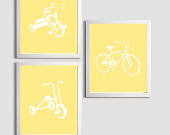 Nursery Boy Tricycles and Bicycle Transportation Sunshine Yellow set of 3