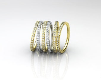 Diamond Stackable Eternity Gold Ring, Diamonds all Around, 14k Gold Infinity Ring With Diamonds,Diamond Eternity Ring, Eternity Wedding Band