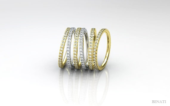 stackable eternity gold ring diamonds all around 14k