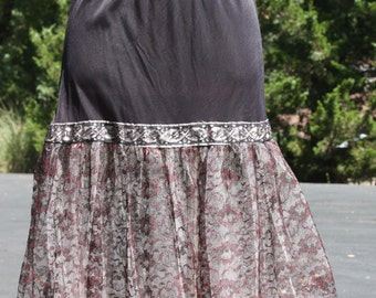 Vintage Crinoline Black Lace And Pink Tulle Petticoat Skirt