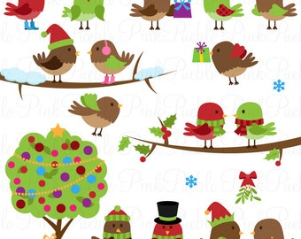 Christmas Birds Clipart Clip Art, Holiday Birds Clip Art Clipart - Commercial and Personal Use