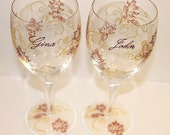 Fall/Autumn Painted Wine Glass, Leaves, Filigree, Thanksgiving Set of 2 - Hand-painted & Personalized - FlutterbyGlass
