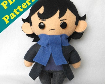 PDF PATTERN - Sherlock Holmes Chibi Plush (Digital Download)