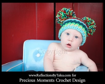 Crochet Baby Hat, Double Pom Pom Baby Hat, Bright Colors Pom Pom Hat, Newborn Baby Crochet Hat Photo Prop