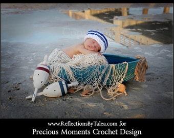 Newborn Sailor Hat, Baby Crochet Sailor Hat, White and Blue Sailor Hat, Newborn Photo Prop