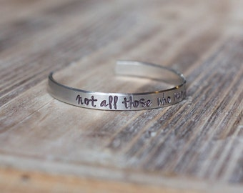 Personalized Cuff Bracelet - Hand Stamped Custom Silver Aluminum Cuff Bracelet - Custom Phrase - Mother's Day Gift