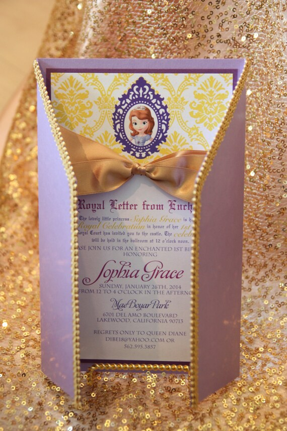 Sophia The First inspired birthday Royal Celebration Invitation