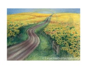 """Landscape of a country road through fields of yellow canola - """"Country Road"""" - Blank Note Card - Greeting Card, Holiday, Just Because"""