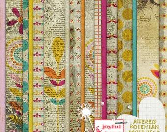 Altered Bohemian - 12x12 Digital Scrapbooking Papers, Printable, Instant Download, for ATC Card, Collage, Hybrid, Mixed Media, DIY Crafts :)