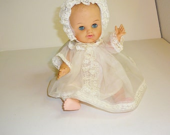 Vintage Doll 1960's Doll Christening Doll Baby Doll Sleepy Eyes Doll