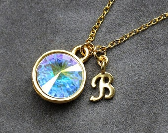 Opal Birthstone Necklace, October Birthstone Jewelry, Gold New Mother Necklace, New Mom Jewelry, Initial Necklace