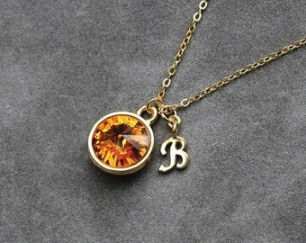 Initial Birthstone Jewelry, November Topaz Necklace, New Mother, Bridesmaids, Gold Letter Jewelry, Initial Necklace