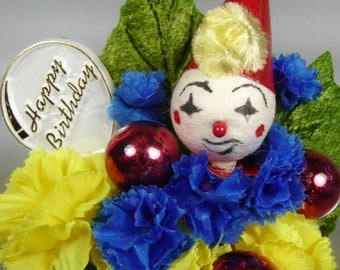 Birthday Corsage Vintage Spun Cotton Clown Millinery  Brooch Red Blue Yellow Petite Size Circus Party Decoration