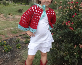 Set of 7 crochet patterns for girls - sweater, book cover, cardigan, legwarmers, winter accessories, shrug, capris
