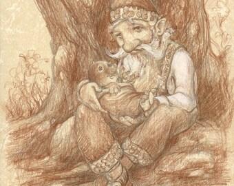 Gnome and Baby Mole Friends 5x7 print