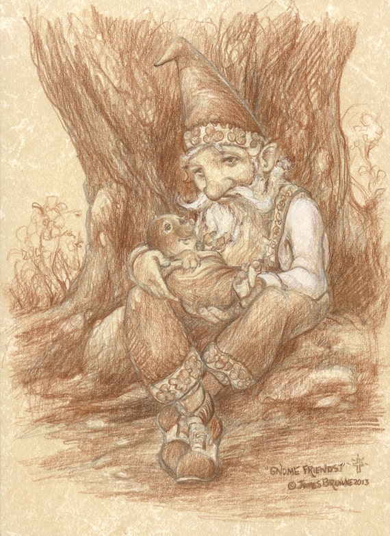 Gnome and Baby Mole Friends Original Sepia Drawing