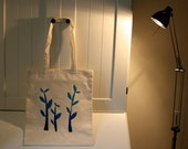 Blue Leafy - Cotton Tote Bag. Hand painted